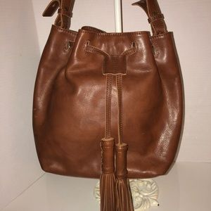 Lucky Brand Leather Drawstring Bag